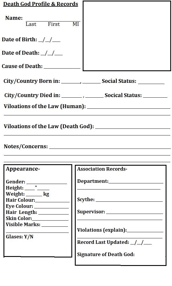 Dating profile sheet
