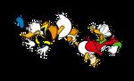 Scrooge kicking Donald