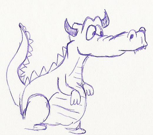 How To Draw Cartoons A Cartoon Dragon Head