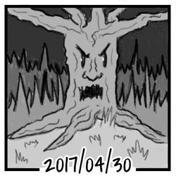 Sketch daily 2017-120, Creepy forest tree by ercasmot