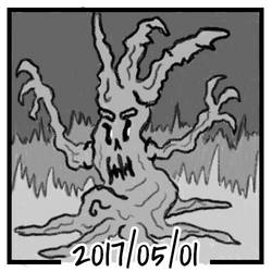 Sketch daily 2017-121, Creepy forest tree #2 by ercasmot