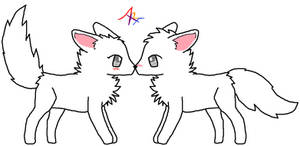 Wolf Couple Lineart