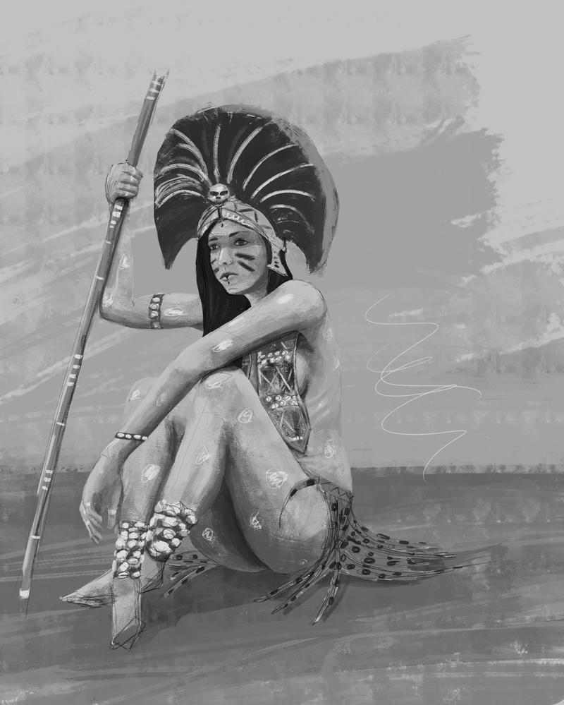Aztec woman work in progress by stariander