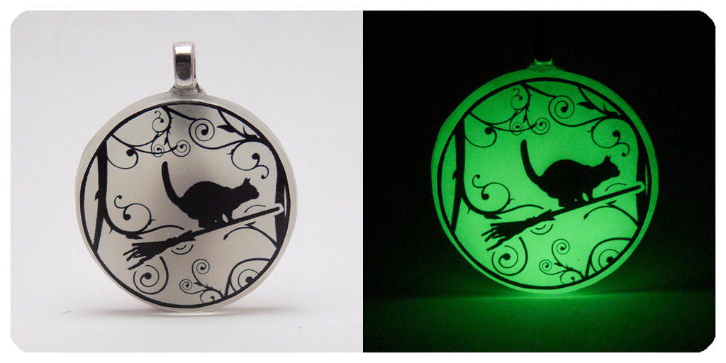 'Cat On A Broom' [Glow In The Dark] Resin Pendant by navkaze