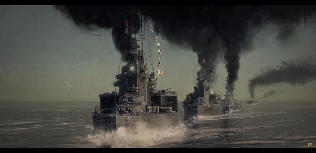 Beattys Run to the South, Jutland. 1916 by CharlesEJD