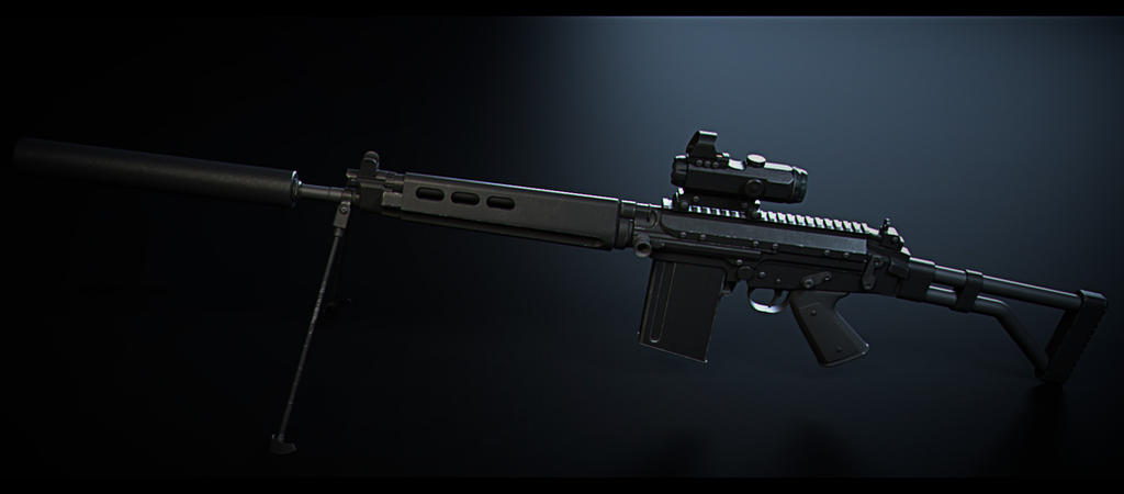 3D model FAL, hard surface model practice by CharlesEJD