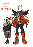 Underfell sketches - Sans and Papyrus by Kaitogirl