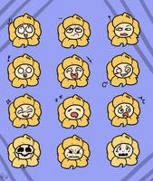 Flowey faces by Kaitogirl