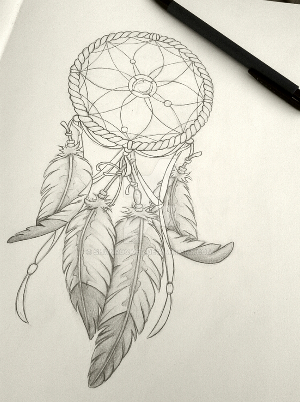 Dreamcatcher Sketch by Shanrocket on DeviantArt Simple Owl Tattoo Drawing