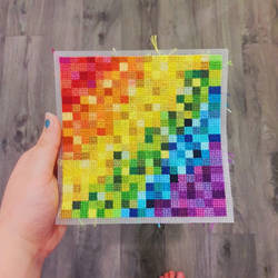 Finished Rainbow Piece | Cross Stitch by loonycornembroidery