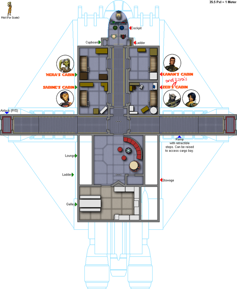 Star Wars Ship Floor Plans Part - 44: The Ghost - Deck 2 SL By ColonialChrome ...