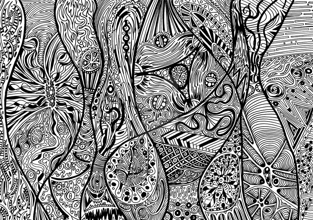 Art Line Work : Uncoloured linework psychedelic abstract by abstractendeavours