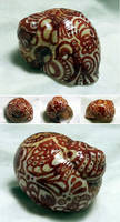 Hand-painted Snail Shell - Red Ink - Inktober