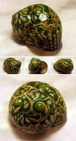 Hand-painted Snail Shell - Green Ink - Inktober