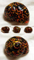 Hand-painted Snail Shell - Fiery Ink - Inktober
