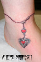 Heart pendant anklet tattoo by ERASOTRON