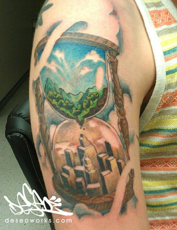 hour glass tattoo by DESEO-ONE