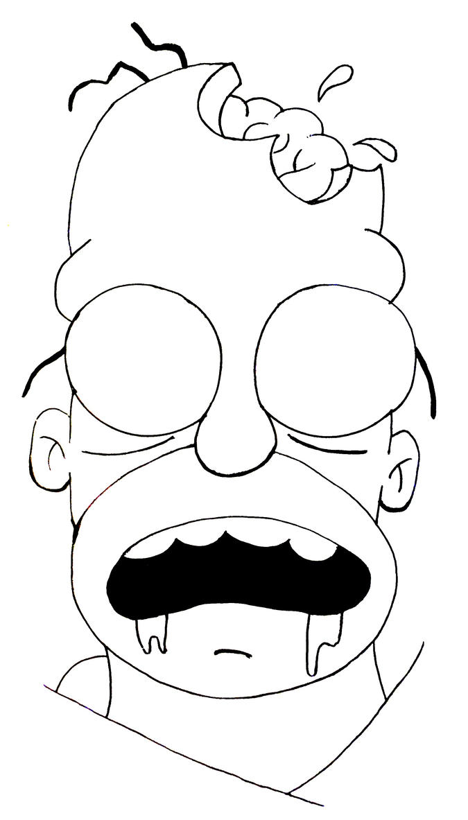 Zombie Face Line Drawing : Zombie homer outline by butterflyblink on deviantart