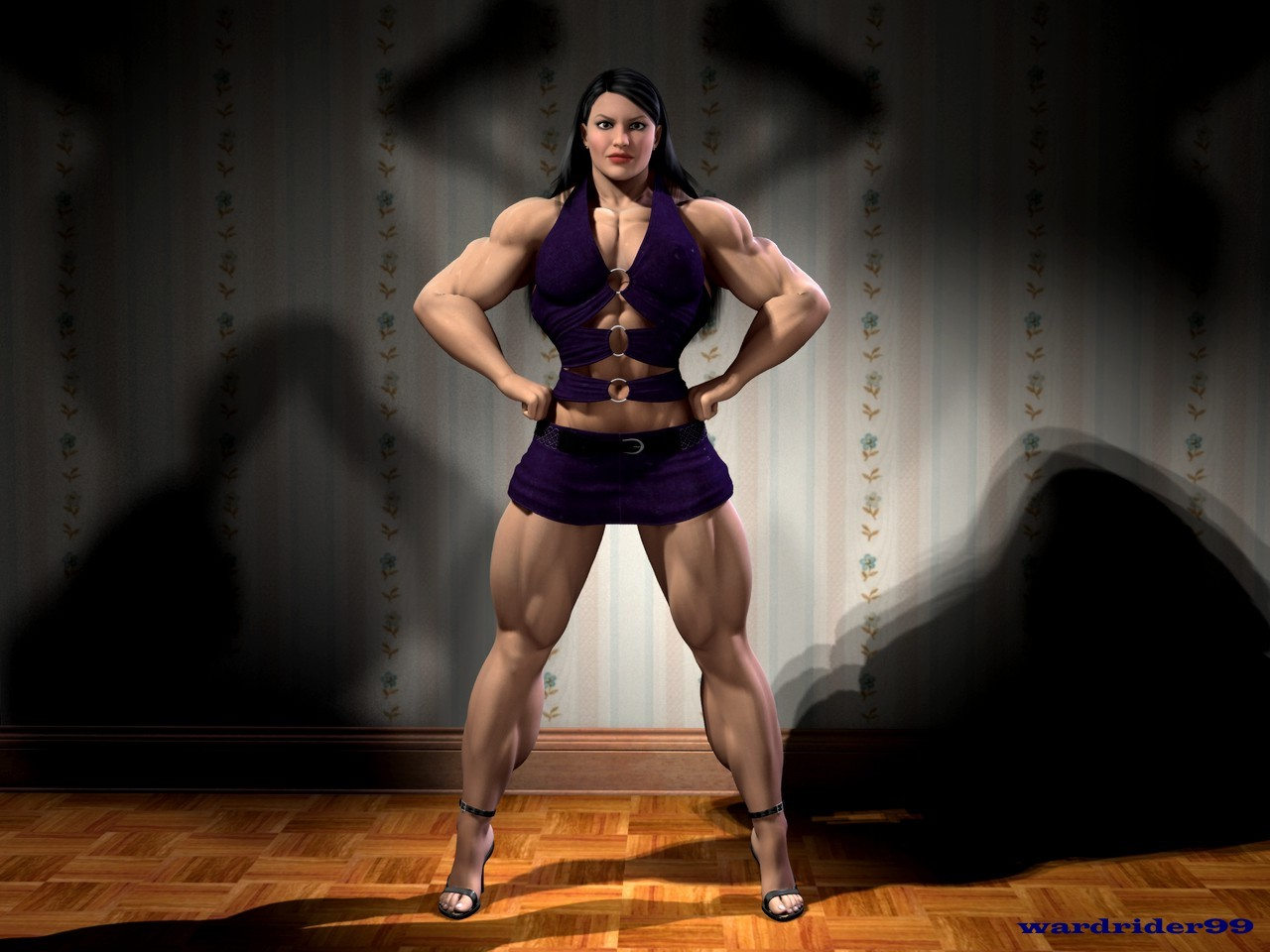Amazon muscle women in 3d anime pic