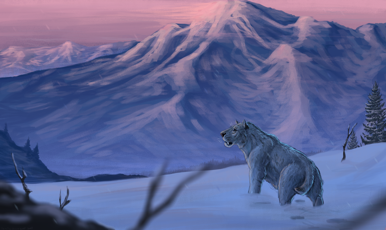 Homotherium Mountain Top by Minionwolf711