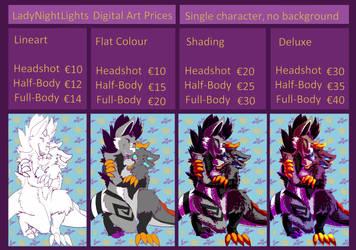 Digital Art Prices 2019 by LadyNightLight