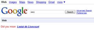 Google thinks Lestat is SEXY