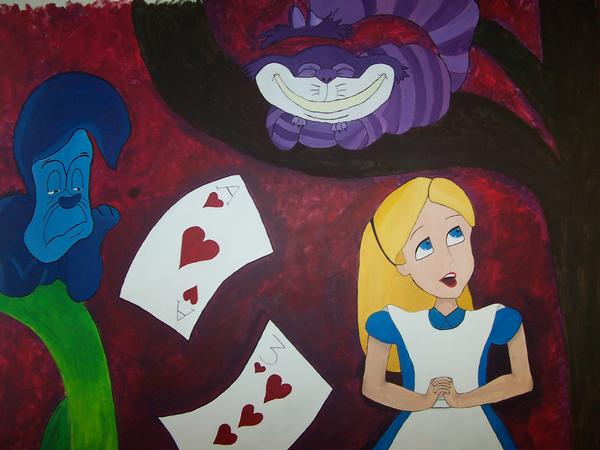 Alice in wonderland mural 1of7 by wixalette on deviantart for Alice in wonderland mural