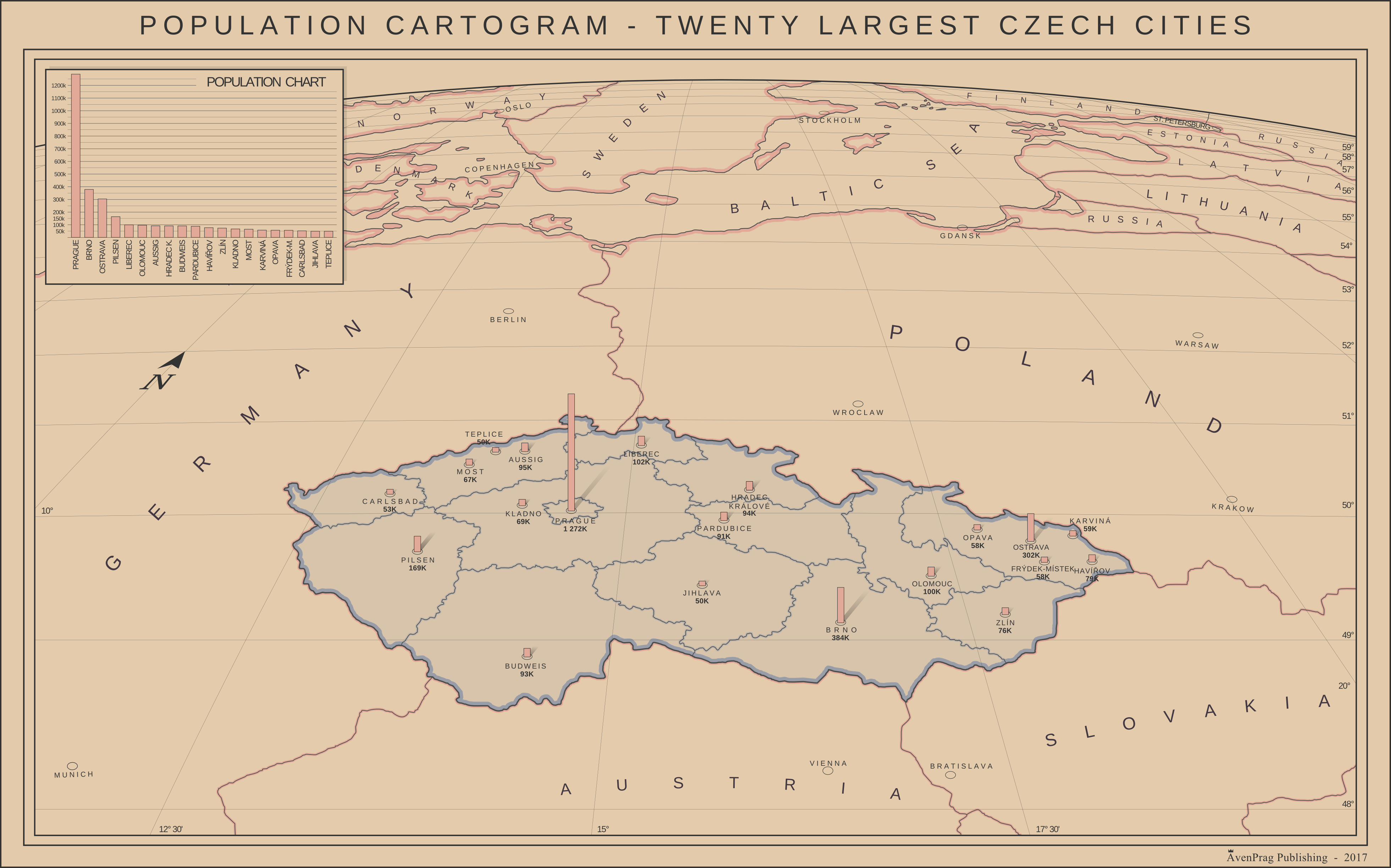 Cartogram - 20 largest Czech cities by SoaringAven