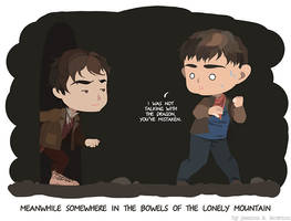 Bilbo in cave 5: with Merlin
