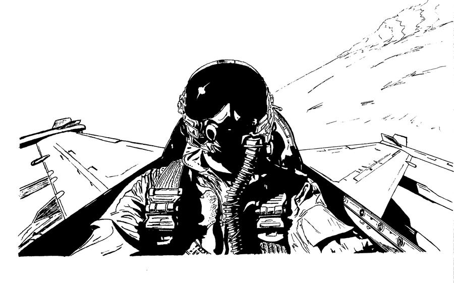 Fighter pilot drawing
