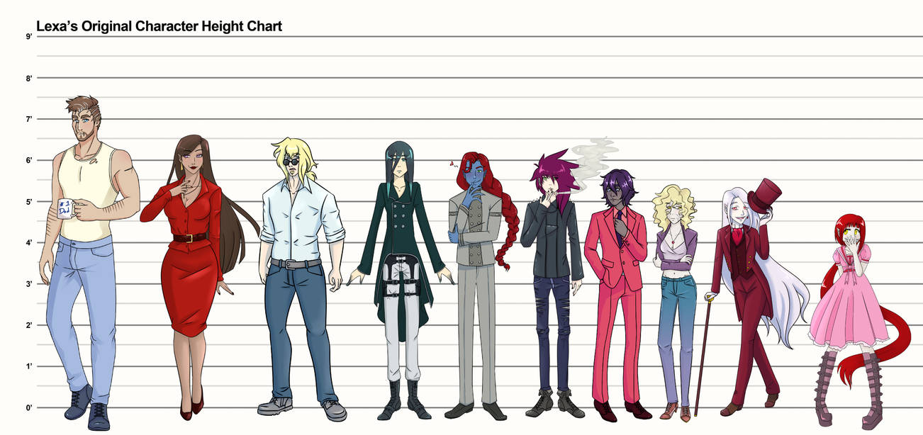 Original Character Height Chart by TheRegalCupcake