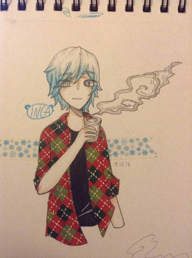 My Oc Snow Drinking Starbucks By Inga10kawaii On Deviantart