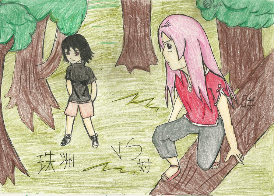 Saki vs Madana/Suzu by Akarui-Sakura