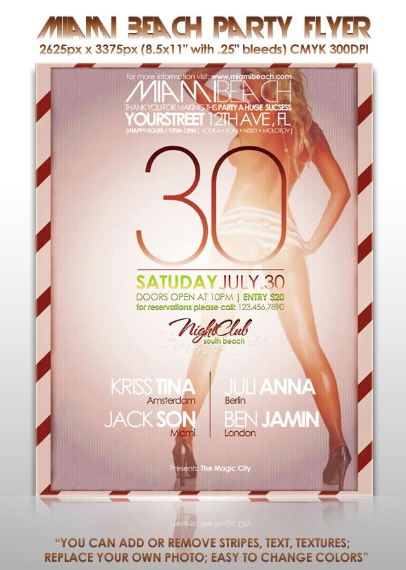 Miami Beach Party Flyer Poster By MuzikizumWeb