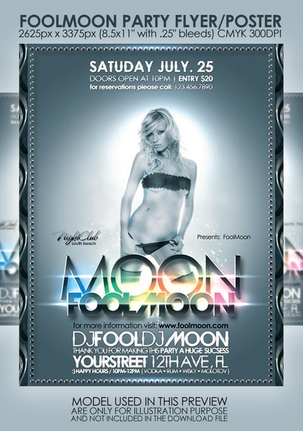 Fullmoon Party Flyer+Poster by MuzikizumWeb