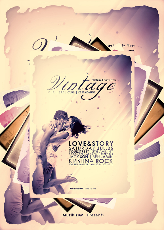 Vintage Party Flyer+LOVESTORY