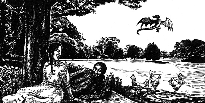 Pastoral one, with poultry and the dragon by besnglist