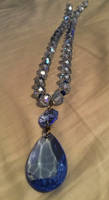 Blue beaded necklace with vintage pendant by ArtByJenX