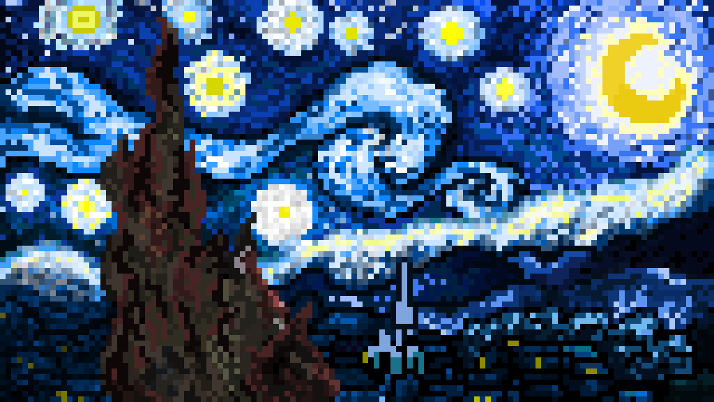 Pixel Art Of The Starry Night From Van Gogh By Bidulechat