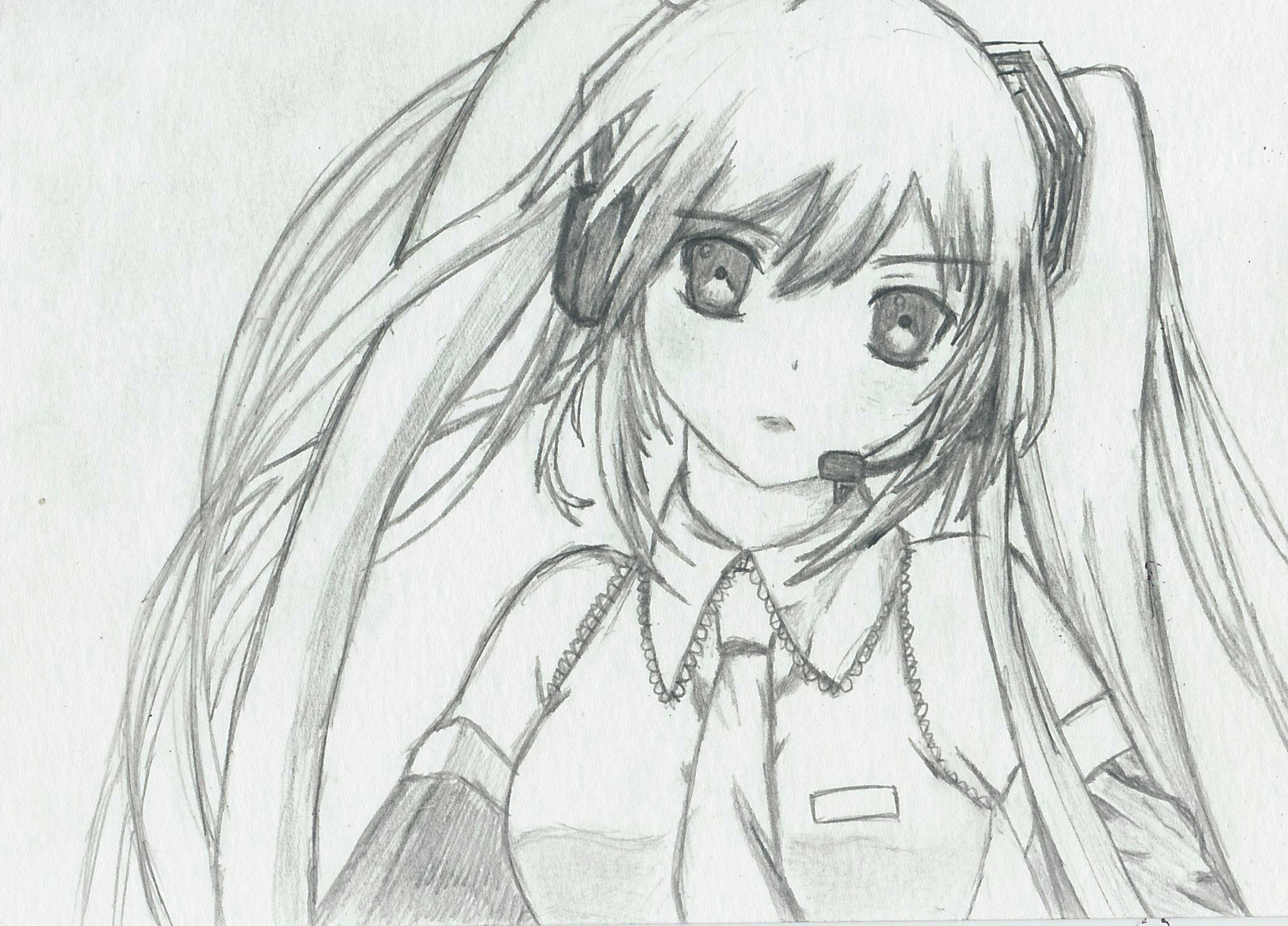 Hatsune Miku Sketch by Tyronesc on DeviantArt Hatsune Miku Drawing Markcrilley