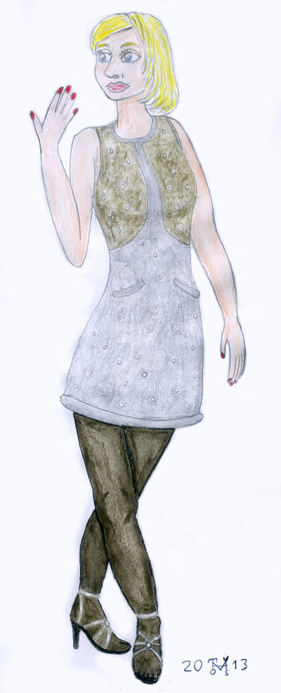 Realistic Anne-Laure in her Moon dress. by hippo2