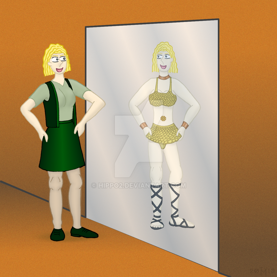 Babette looks into the mirror by hippo2