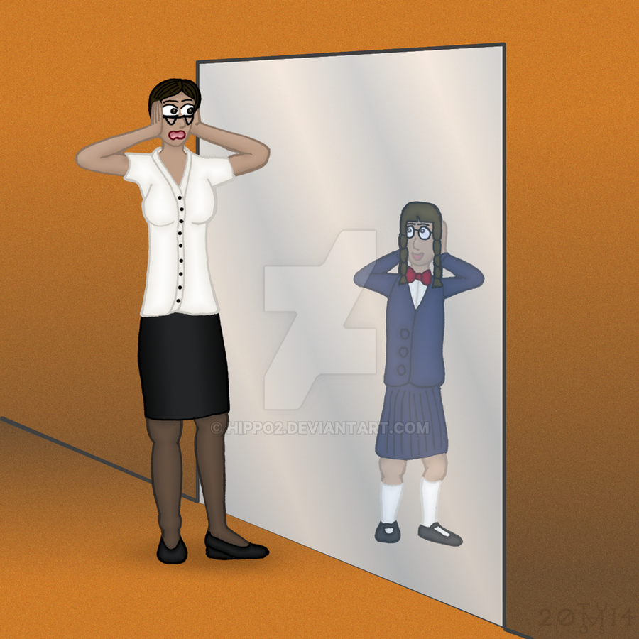 Frida looks into the mirror by hippo2