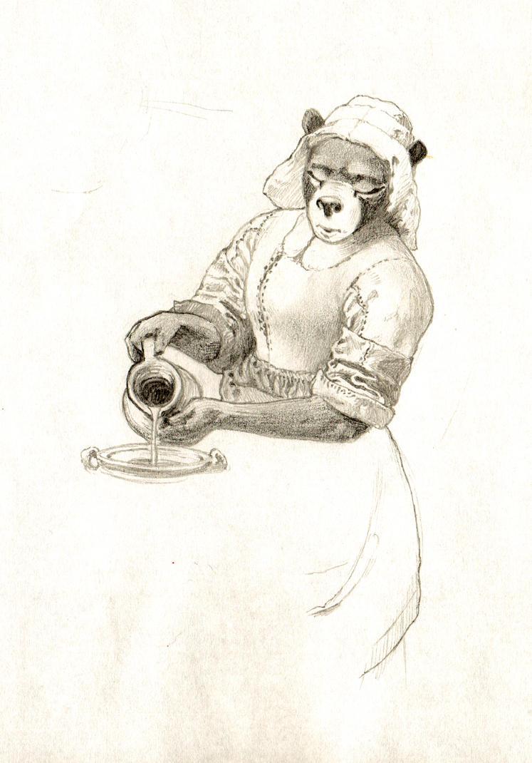 Bear Pouring Milk by PeterDonahue