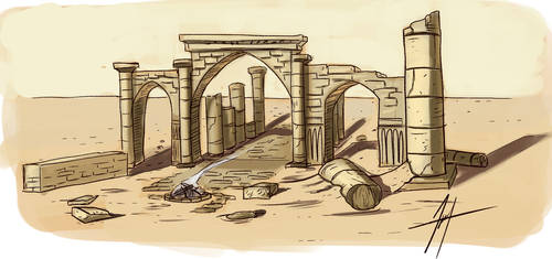 Ruins sketch by Grieverjoe