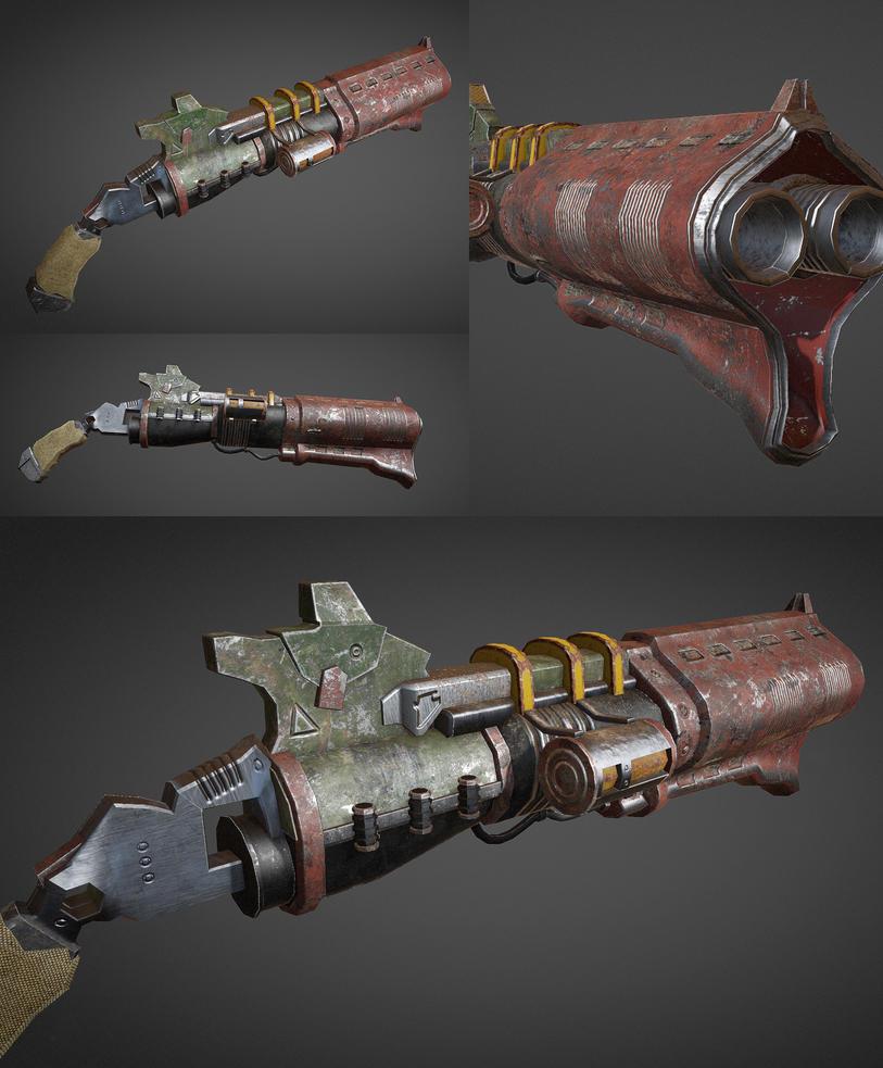Lowpoly shotgun by LeDemonHacker