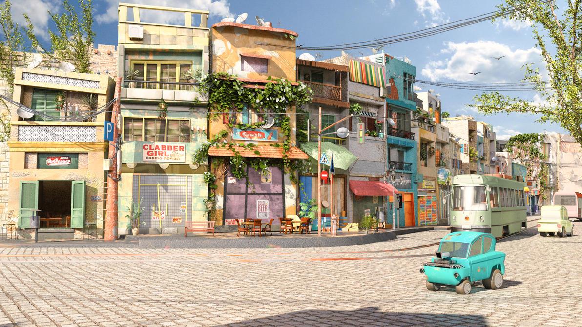 Cartoon street by LeDemonHacker