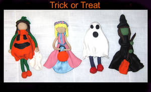 trick or treaters- clay