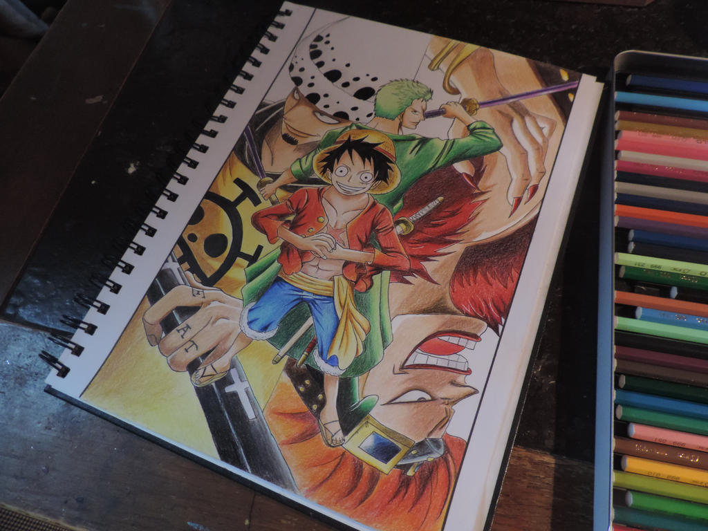 one piece luffy law zorro kid color drawing by tak17hiro on deviantart