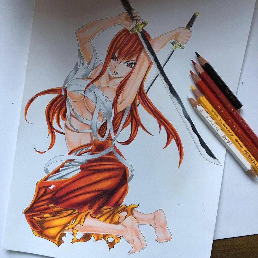 erza scarlet fairy tail color drawing by tak17hiro